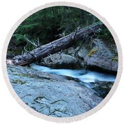 Log Over Deep Creek Round Beach Towel