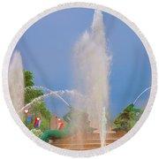 Logan Circle Fountain 2 Round Beach Towel