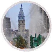 Logan Circle Fountain With City Hall In Backround 2 Round Beach Towel