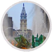 Logan Circle Fountain With City Hall In Backround 3 Round Beach Towel