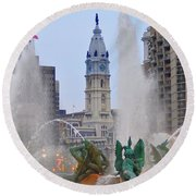 Logan Circle Fountain With City Hall In Backround 4 Round Beach Towel by Bill Cannon