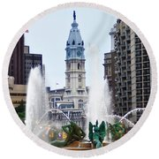 Logan Circle Fountain With City Hall In Backround Round Beach Towel by Bill Cannon