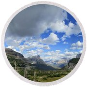 Logan Pass Panorama - Glacier National Park Round Beach Towel