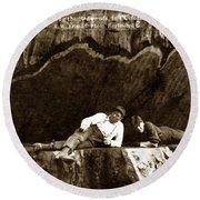 Logger With Ax On Springboard Loggers Sitting Inside Undercut  Circa 1890 Round Beach Towel