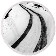 Logging Road In Winter Round Beach Towel by Mark Duffy