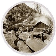 Logging With Oxen At A Saw Mill Sonoma County California Circa 1900 Round Beach Towel