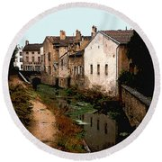 Loire Valley Village Scene Round Beach Towel