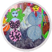 Lois And Arnold Roundabout Round Beach Towel