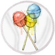 Lollipop Candy Watercolor Round Beach Towel by Olga Shvartsur