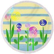 Lollipop Flower Bed Round Beach Towel
