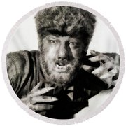 Lon Chaney, Jr. As Wolfman Round Beach Towel