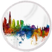 London And Warsaw Skylines Mashup Round Beach Towel