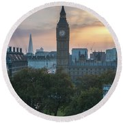 London Big Ben And The Shard Sunrise Round Beach Towel