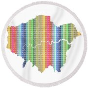 London Boroughs Map - Rainbow Round Beach Towel