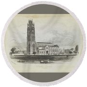 London Boston Church. Round Beach Towel