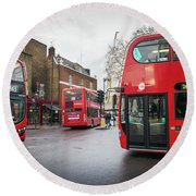 London Buses Round Beach Towel