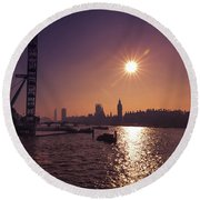 London By Night By Day Round Beach Towel