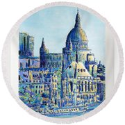 London City St Paul's Cathedral Round Beach Towel