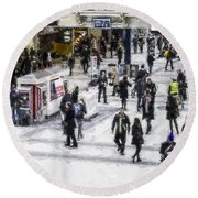 London Commuter Art Round Beach Towel