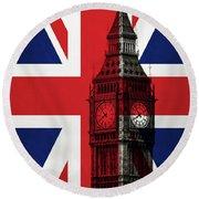 London England Big Ben Round Beach Towel