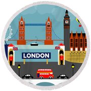 London England Horizontal Scene - Collage Round Beach Towel