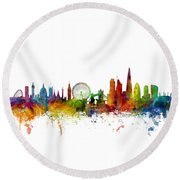 London England Skyline 16x20 Ratio Round Beach Towel
