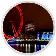 London Eye Round Beach Towel by Heather Applegate