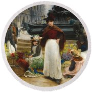 London Flower Girls Piccadilly Circus Round Beach Towel