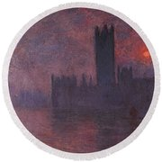 London Houses Of Parliament At Sunset  Round Beach Towel