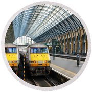 London King's Cross Station 1 Round Beach Towel