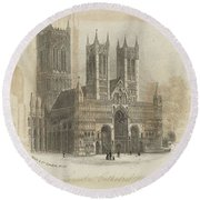 London Lincoln Cathedral. Round Beach Towel