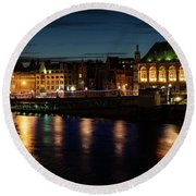 London Night Magic - Colorful Reflections On The Thames River Round Beach Towel