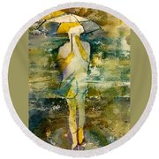 London Rain Theme Round Beach Towel