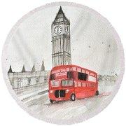 London Red Bus Round Beach Towel