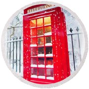 London Red Telephone Booth  Round Beach Towel