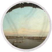 London Seen Through An Arch Of Westminster Bridge Round Beach Towel