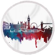 London Skyline City Blue Round Beach Towel