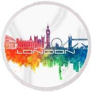 London Skyline City Color Round Beach Towel