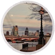 London Skyline From The South Bank Round Beach Towel