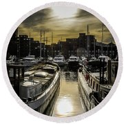 London. St. Katherine Dock. Into The Sun. Round Beach Towel