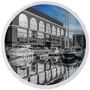 London. St. Katherine Dock. Reflections. Round Beach Towel