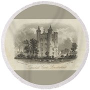 London Tattershall Castle, Lincolnshire. Published 1 Dec 1849 Round Beach Towel
