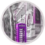 London Telephone Purple Round Beach Towel