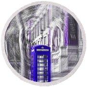 London Telephone Purple Blue Round Beach Towel