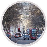 London Thoroughfare Round Beach Towel
