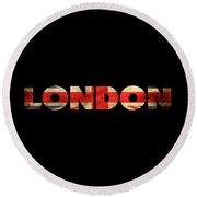 London Vintage British Flag Tee Round Beach Towel