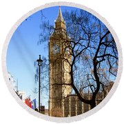 London's Big Ben Round Beach Towel