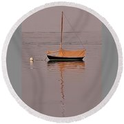 Lone Boat On Black Rock Harbor Round Beach Towel