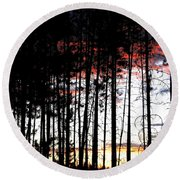Lone Butte Sunset Round Beach Towel