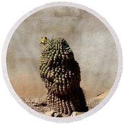 Lone Cactus In Sepia Tone Round Beach Towel